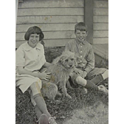 Real Photo RPPC Postcard Girl And Boy Posing With Dog Kids ID On Back