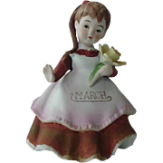 Lefton March Birthday Girl Figurine Holding a Daffodil