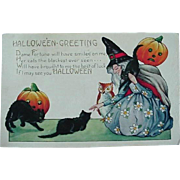 Halloween Postcard Whitney 1920s Witch Cats JOL Owl
