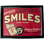 Smiles Cigarettes Framed Advertising 1930s
