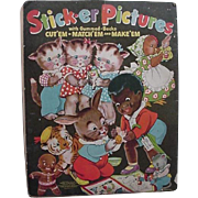 Black Americana Sambo Rabbit Kittens Chicken On Front Sticker Pictures Book 1940s Merrill Publ