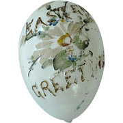 Victorian Milk Glass Hand Blown Large Egg Easter Greetings Incised