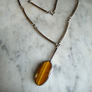 Sterling, Modernist, Tiger Eye Necklace by N.E.From, Denmark