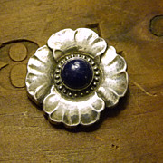 SALE PENDING Georg Jensen Floral Brooch with Lapis #189