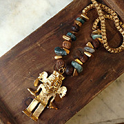 REDUCED Miriam Haskell Aztec Pendant Necklace Rare