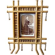 SOLD Outstanding Woven Bamboo Photo Frame Late 19th Century Aesthetic Period