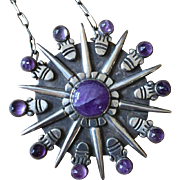 Signed William Spratling Amethyst Aztec Sun Pin, Pendant ca. 1940 Heavy Sterling Silver