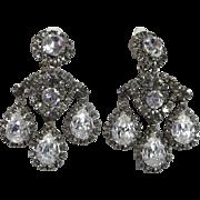 18th Century Style Rhinestone Runway Clip Earrings