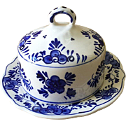 Hand Painted Delft Blue Covered Butter Dish c. 1950's