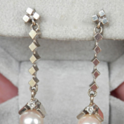 SALE Beautiful 14K White Gold Diamond Pearl Drop Earrings
