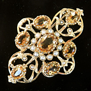 SALE Final Sale! Beautiful Large 9K Gold Citrine Seed Pearl Pin ~ 9.6 grams