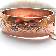 Exquisite Wide 18K Rose Gold Pearl French Floral Bracelet