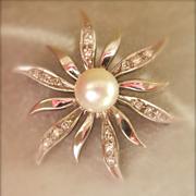 SALE Final Markdown! Lovely SCALLE 14K White Gold Pearl Diamond Flower Pin