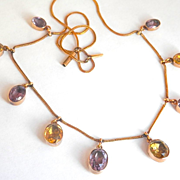 SALE Final Markdown! Glorious Antique 15CT 15K Gold Amethyst Citrine Drops Necklace