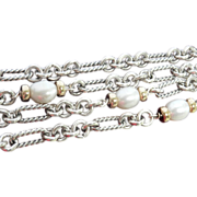SALE Final Markdown!! Heavy Authentic David Yurman Multi-Strand Silver 18K Pearl Link Bracelet