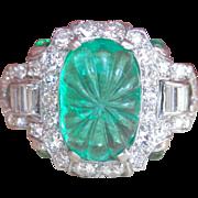 SALE Stunning! Art Deco 2.40 ct. Emerald Diamond Platinum Ring