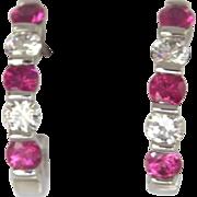 "Terrific Designer Pink Sapphire Diamond 950 Platinum ""J"" Hoop Earrings"