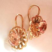 SALE Lovely Soviet Russian 14K Gold Synthetic Pink Stone Earrings