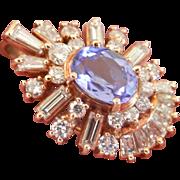 SALE Stunning! Exquisite Custom-Made 14K Gold 1.50 Tanzanite Diamond Pendant