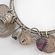 Delightful Victorian/Edwardian Silver 7 Charm Bangle~ amethyst heart, coin tokens, heart lock~