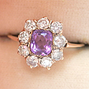 Fabulous Victorian 9K 9CT Amethyst Diamond Cluster Pinky Ring