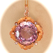 SALE Beautiful 9CT 9K Victorian/Nouveau 7.5 ct. Amethyst Seed Pearl Pendant w/Chain