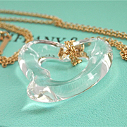 Sparkling Tiffany & Co. 18K Gold Peretti Open Heart Rock Crystal Necklace~Retired