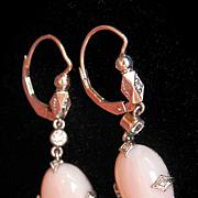 SALE Stunning CATHY WATERMAN Platinum Coral Diamond Drop Earrings~Retired