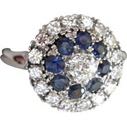 SALE Final Markdown! Wonderful 18K WG 1.00 ct. Diamond Sapphire Vintage Cluster Ring