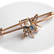 Lovely 9K 9CT Victorian Sapphire Pearl Fly Insect Pin