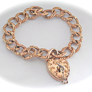 SALE Terrific Victorian Gold-filled Ornate Heart Padlock Bracelet with Key!