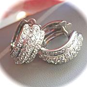 SALE Stunning 18K W/Gold 1.64 CTW Diamond Hoop Earrings~Sparkly!