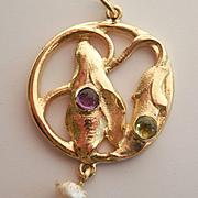 Beautiful Art & Crafts 15K Gold Gem-set Flower Pearl Drop Pendant