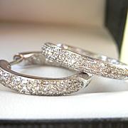 Stunning 14K W/Gold 1.54 CTW. Inside-Out Diamond Hoop Earrings