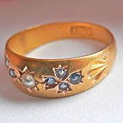 SALE Lovely Art Nouveau 15K Y/Gold Sapphire Pearl Ring