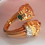 SALE Striking Heavy 18K Gold Ruby Emerald Diamond Panther Ring