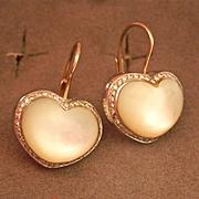SALE Stunning Pasquale Bruni 18K & 14K MOP Diamond Heart Earrings