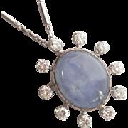 Stunning! Estate 19K White Gold Star Sapphire 1.00 CTW Diamond Pendant/Pin w/Chain