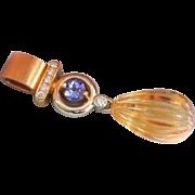 SALE Exceptional Custom made Heavy 18K Gold Tanzanite, Hand-Carved Citrine Diamond Pendant