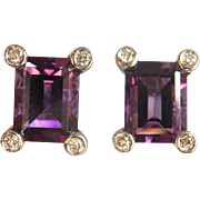 SALE Beautiful 14K W/Gold Deep Purple 2.00 ctw. Amethyst Diamond Earrings