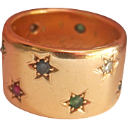 Amazing 18K Y/Gold Heavy Diamond, Ruby, Emerald, Sapphire Star Band Ring