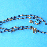 Lovely 14K Gold & Onyx Bead Necklace Chain