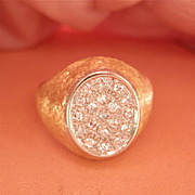 Fabulous 18K Yellow & White Gold Pavé Diamond Pinky Ring