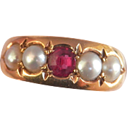 SALE Lovely Victorian 18K Y/Gold Ruby Pearl Ring