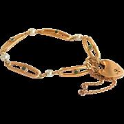 SALE Lovely Victorian 14K & 9K Y/Gold Turquoise Pearl Heart Padlock Bracelet