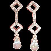 Wonderful 18K W/Gold 0.56 ct. Diamond Aquamarine Briolette Earrings