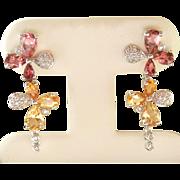 Exquisite 18K W/Gold Tourmaline, Citrine Diamond Drop Earrings