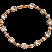 SALE Lovely English 9K Y/Gold Aquamarine Pearl Vintage Bracelet