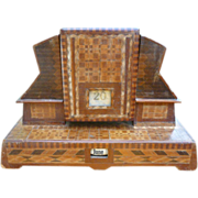 Remarkable Folk Art Inlaid Perpetual Desk Calendar