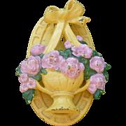 Hubley Cast Iron Basket Of Flowers Door Knocker